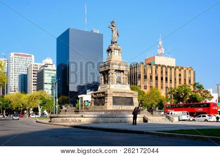 MEXICO CITY - JULY 14,2018 : The Monument to Cuahutemoc at Paseo de la Reforma in Mexico City