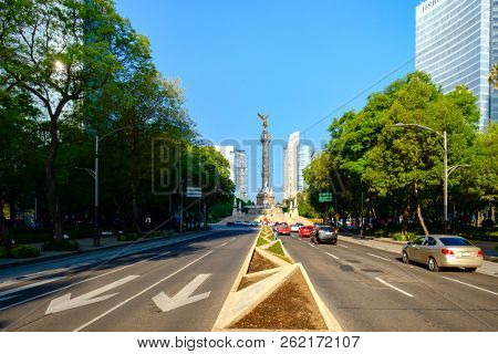 MEXICO CITY - JULY 14,2018 : Paseo de la Reforma and the Angel of Independence in Mexico City