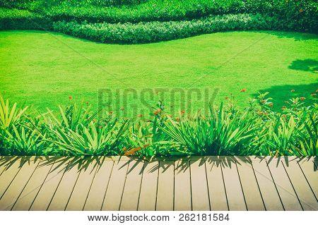 Page Decking Front Lawn, Landscape Formal, Front Yard Is Beautifully Designed Garden, Garden Design