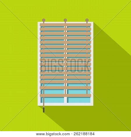 Window With Wooden Jalousie Icon. Flat Illustration Of Window With Wooden Jalousie Icon For Web Isol