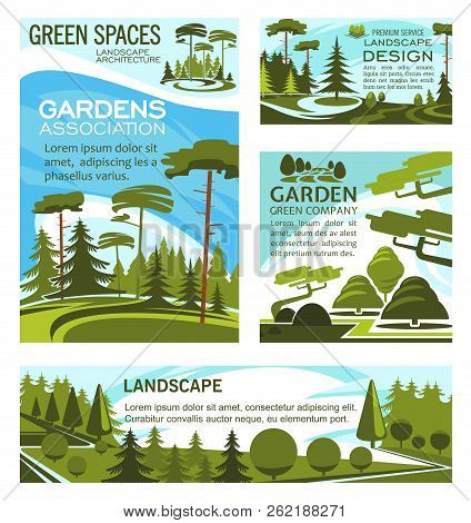 Landscaping Design Company And Urban Horticulture Planting Premium Service. Vector Green Project Des