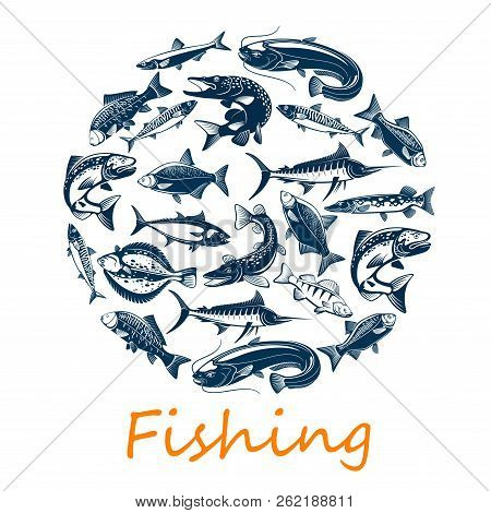Fishing Sport, Of Sea And Ocean Fish For Fisherman Catch Or Sport Adventure Theme. Vector Scad Or Ho