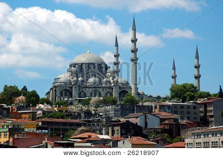 Minarets on the Suleiman the Magnificent mosque in Istanbul, Turkey