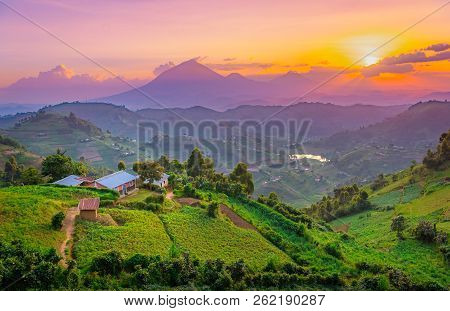 Kisoro Uganda Beautiful Sunset Over Mountains And Hills Of Pastures And Farms In Villages Of Uganda.