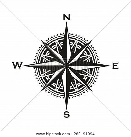 Navigation Compass Sign, Rose Of Winds With Direction Arrows. Vector Marine And Nautical Sailing Car