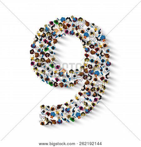 Large Group Of People In Number 9 Nine Form. People Font . Vector Illustration