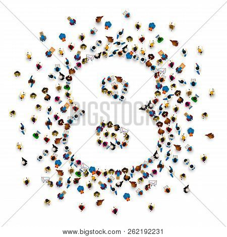 Large Group Of People In Number 8 Eight Form. People Font . Vector Illustration