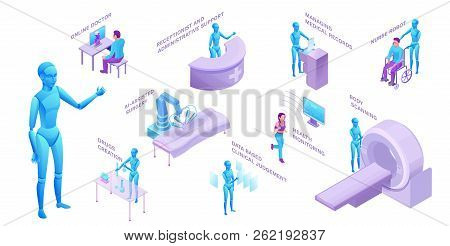 Medical Robot Set, Isometric 3d Vector Illustration With Ai Technology In Medicine, Smart Machine In