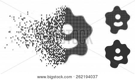 Ameba Icon In Dissolving, Dotted Halftone And Undamaged Solid Variants. Fragments Are Grouped Into V