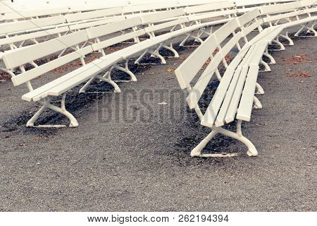 White Openwork Bench In The City Park.