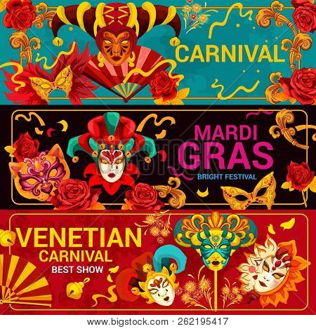 Mardi Gras Festival And Venetian Carnival Masks. Vector Traditional Venice Masquerade With Ornate Ha