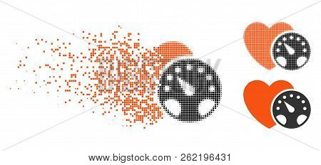 Blood Pressure Meter Icon In Dissipating, Dotted Halftone And Undamaged Entire Versions. Fragments A