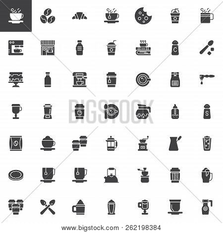 Coffee Shop Vector Icons Set, Modern Solid Symbol Collection, Filled Style Pictogram Pack. Signs, Lo