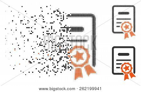 Certified Diploma Icon In Disappearing, Dotted Halftone And Undamaged Solid Versions. Elements Are A
