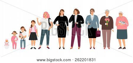 Woman Age Stages. Cartoon Female Ages Process, Teenager Girl And Young Adult, Mother And Aged Grandm