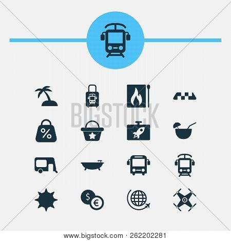 Journey Icons Set With Suitcase With Electric Train, House On Wheels, Flask And Other Rail Elements.