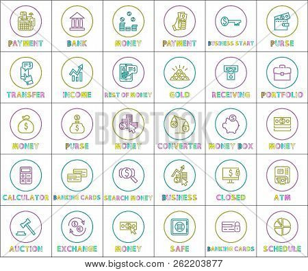 Collection Of Money Operations Colorful Banner Receiving Collecting Banking And Searching Processes,