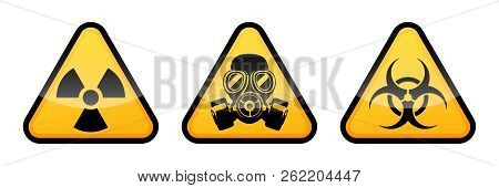 Radiation Warning Sign, Biohazard Warning Sign, Gas Mask Warning Sign