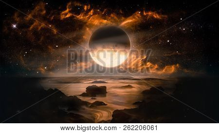 Landscape In Fantasy Alien Planet With Flaming Moon And Galaxy Background. Elements Of This Image Fu
