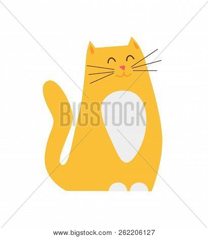 Smiling ginger cat pet closeup, kitty sitting calmly with closed eyes and wagging tail in hope to be fed, feline isolated on vector illustration poster
