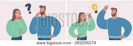 Couple Of Man And Woman Having A Question. Husband And Wife Deal The Problem Using Their Imagination