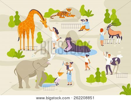 Zoo Park With Funny Animals And People Interacting With Them Vector Flat Illustrations. Animals In Z