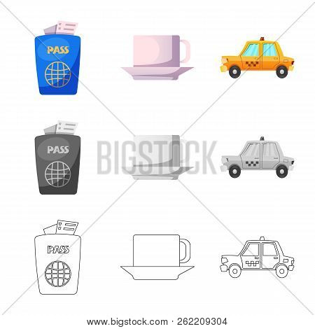 Isolated Object Of Airport And Airplane Sign. Set Of Airport And Plane Stock Vector Illustration.