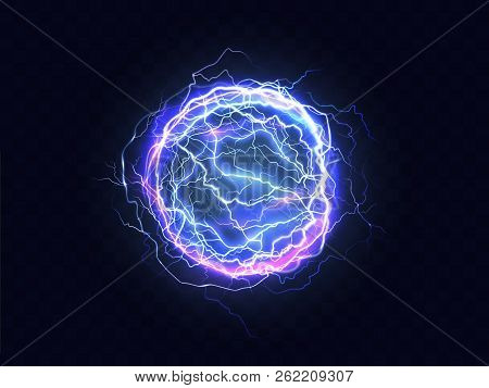 Powerful Electrical Discharge, Lightning Strike Impact Place Realistic Vector On Transparent Backgro