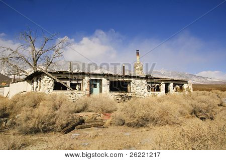 Abandoned stone house in Death Valley National Park , California