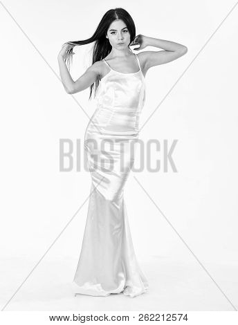 Elegant Dress Concept. Girl On Pensive Face In Graceful Dress. Woman In Elegant White Dress With Lon