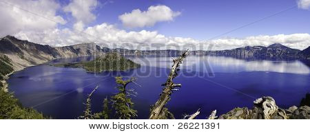 Panoramic view of Crater lake in Oregon, a caldera left after a gigantic volcanic explosion