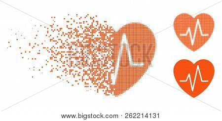 Heart Ekg Icon In Dispersed, Dotted Halftone And Undamaged Entire Variants. Pieces Are Composed Into