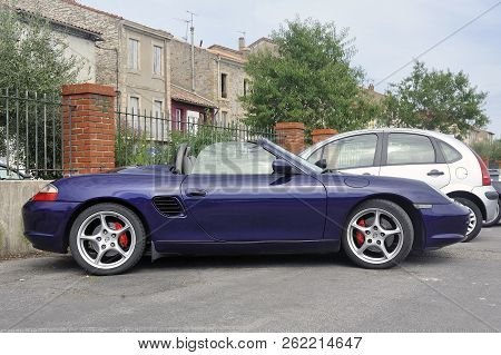 Ales, France - September 9, 2018: Convertible Porsche Sports Car On A Parking Lot Of The City Of Ale