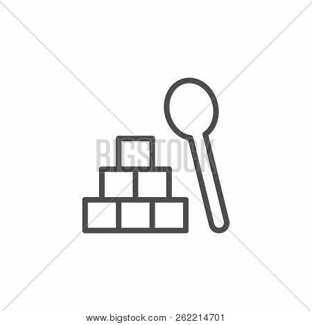 Lump Sugar Line Icon Isolated On White. Vector Illustration