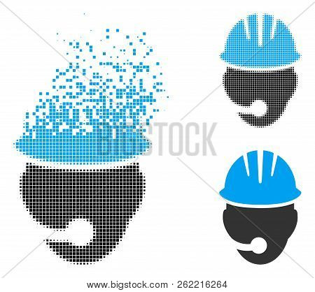 Industrial Operator Icon In Disappearing, Pixelated Halftone And Undamaged Whole Variants. Pieces Ar