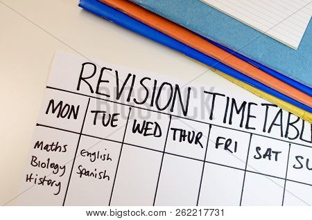 Revision Or Study Timetable Concept With Plan