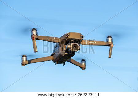 Ostrow Wielkopolski, Poland - September 30, 2018: Flying Drone Dji Mavic 2 Pro.