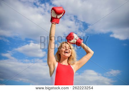 Feminism Promotion. Fight For Female Rights. Girl Leader Promoting Feminism. Woman Boxing Gloves Rai