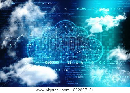 Cloud Computing, Cloud Computing Concept, Cloud Network In Abstract Technology Background. Cloud Net