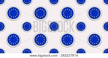 The European Union Round Flag Seamless Pattern. Eu Background. Vector Circle Icons. Geometric Symbol