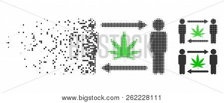 Men Cannabis Exchange Icon In Dissolving, Pixelated Halftone And Undamaged Solid Variants. Particles