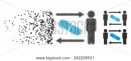 Men Pill Exchange Icon In Dissolving, Dotted Halftone And Undamaged Whole Versions. Pieces Are Combi