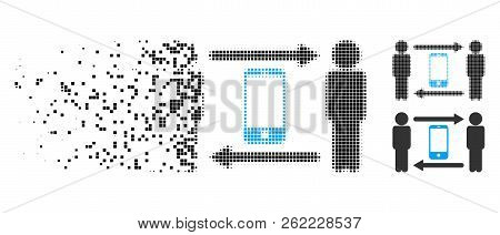 Men Smartphone Exchange Icon In Dispersed, Pixelated Halftone And Undamaged Whole Versions. Particle