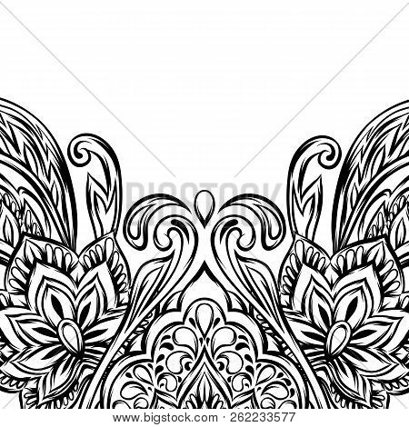Indian Ethnic Background Pattern. Ethnic Folk Ornament. Hand Drawn Lotus Flower And Paisley.