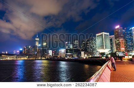 Hong Kong - August 8, 2018: Hong Kong Island Downtown Central Harbor And Downtown Modern Cityscape A