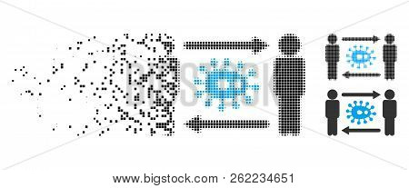 Persons Bacteria Exchange Icon In Disappearing, Pixelated Halftone And Undamaged Solid Versions. Fra