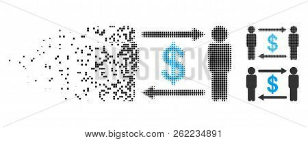 Persons Exchange Dollar Icon In Fractured, Dotted Halftone And Undamaged Solid Variants. Fragments A