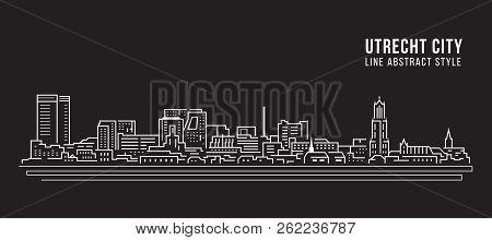 Cityscape Building Line Art Vector Illustration Design - Utrecht City