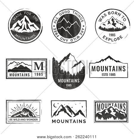 Set Of Nine Mountain Travel Emblems With Grunge Texture. Camping Outdoor Adventure Emblems, Badges A