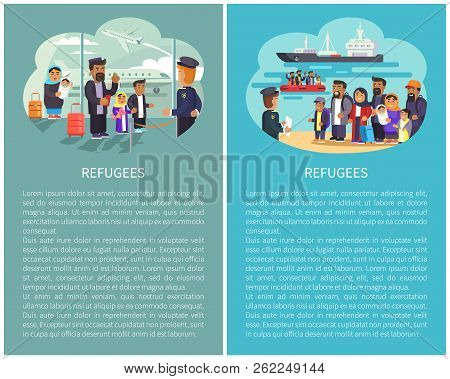 Refugees airport and ships waiting for people transportation water transports, migrants shipment, posters with editable text samples, vector illustration poster